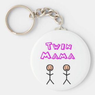 Twin mama basic round button key ring