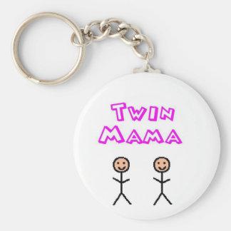 Twin mama basic round button key ring