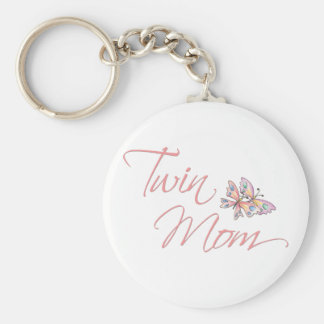 Twin Mom Butterflies Basic Round Button Key Ring