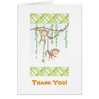 Twin Monkeys Thank You Card