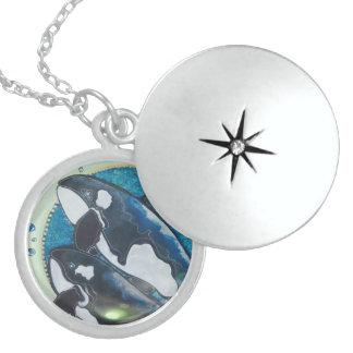 Twin orcas locket necklace