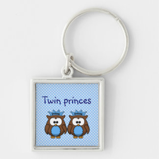 twin owl princes Silver-Colored square key ring