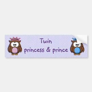 twin owl princess & prince car bumper sticker
