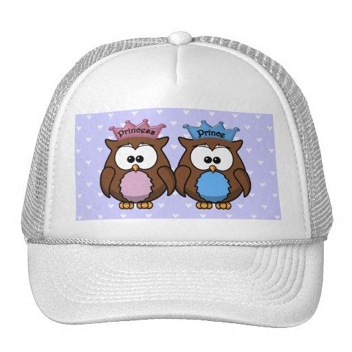 twin owl princess & prince hats