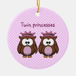 twin owl princesses christmas ornament