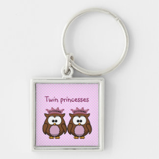 twin owl princesses Silver-Colored square key ring