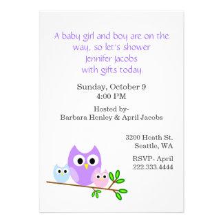 Twin Owls Baby Shower Invitation