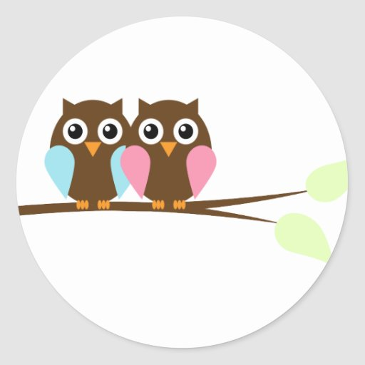 Twin Owls Baby Shower Stickers
