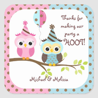 Twin Owls Birthday Thank You Square Stickers