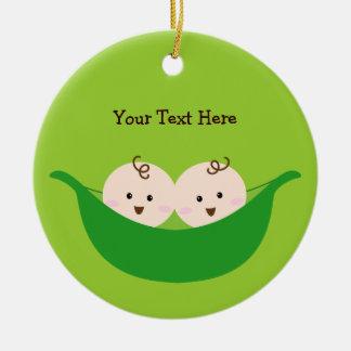 Twin Pea Pods (customizable) Christmas Ornament