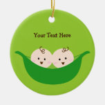 Twin Pea Pods (customizable) Christmas Tree Ornaments