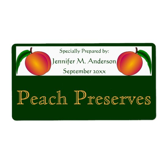 Twin Peaches Framed in Green Homemade Food Shipping Label