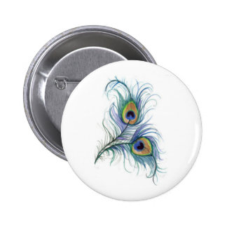 Twin Peacock Feather Pencil Drawing Button
