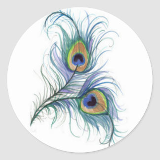 Twin Peacock Feather Pencil Drawing Button Classic Round Sticker