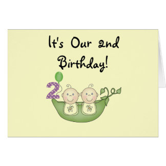 Twin Peas in a Pod 2nd Birthday T-shirts and Gifts Card