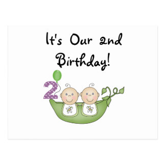 Twin Peas in a Pod 2nd Birthday T-shirts and Gifts Postcard