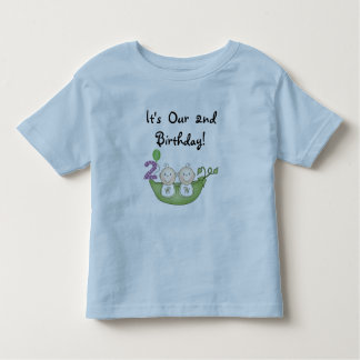 Twin Peas in a Pod 2nd Birthday T-shirts and Gifts