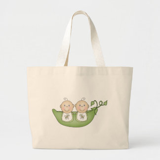 Twin Peas in a Pod Large Tote Bag