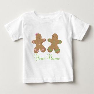 Twin Personalized Gingerbread Cookie Baby Baby T-Shirt