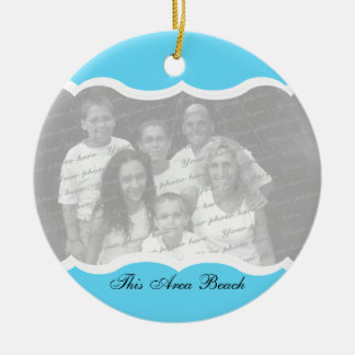Twin Photo Blue Double-Sided Ceramic Round Christmas Ornament