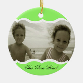 Twin Photo Bright Green Christmas Ornament
