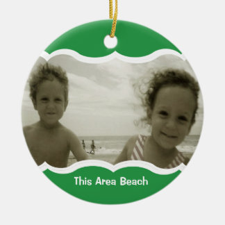 Twin Photo Green Double-Sided Ceramic Round Christmas Ornament