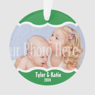Twin Photo Keepsake Green Ornament