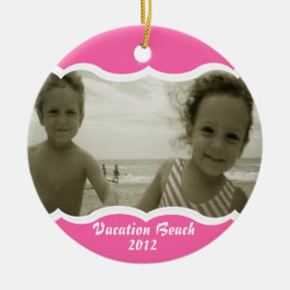 Twin Photo Pink Christmas Ornament