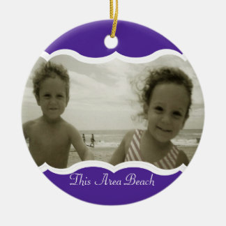 Twin Photo Purple Double-Sided Ceramic Round Christmas Ornament