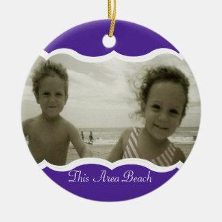 Twin Photo Purple Christmas Ornament