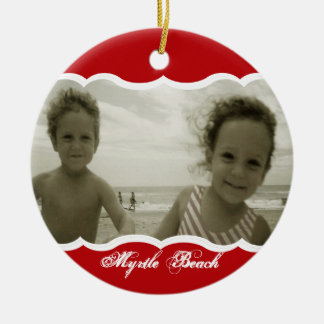 Twin Photo Red Christmas Ornament