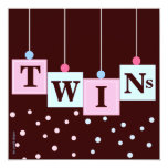 Twin Pink Blue Blocks Boy and Girl Baby Shower 13 Cm X 13 Cm Square Invitation Card