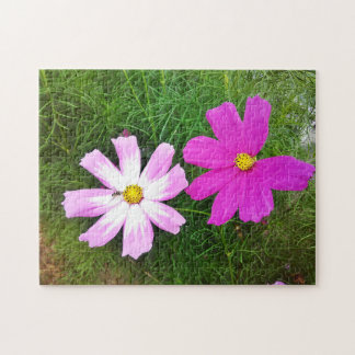 Twin Pink Cosmos Flowers Puzzle