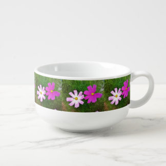 Twin Pink Cosmos Flowers Soup Mug