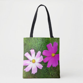 Twin Pink Cosmos Flowers Tote Bag