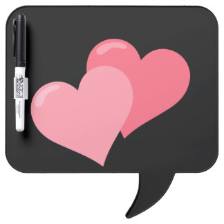 Twin Pink Hearts Dry Erase Board