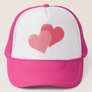 Twin Pink Hearts Trucker Hat