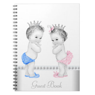 Twin Prince and Princess Baby Shower Guest Book Note Books