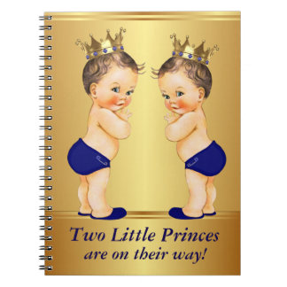 Twin Prince Baby Shower Guest Book Note Book