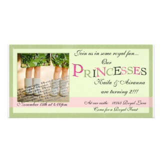 Twin Princesses Birthday Card Personalized Photo Card