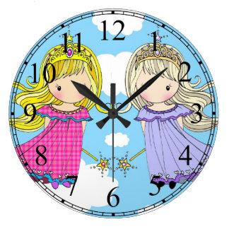Twin Princesses Little Girls Clock