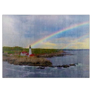 Twin Rainbows and Lighthouse Cutting Board