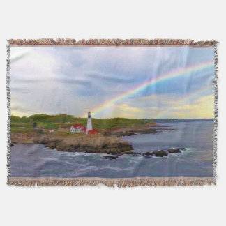 Twin Rainbows and Lighthouse Throw Blanket