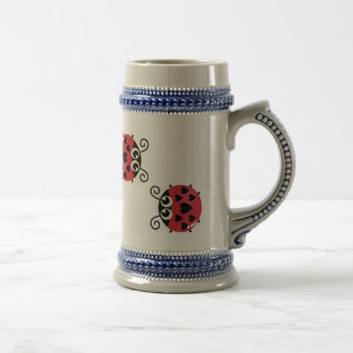 Twin Red Bugs Facing Each Other Stein Mug