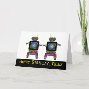 Twin Robot Birthday 4 Years Old Card