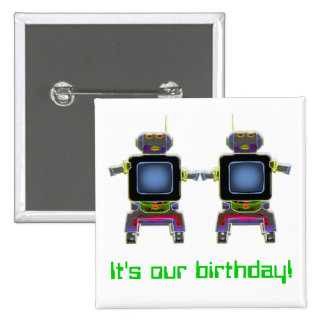 twin robots in neon colors 15 cm square badge