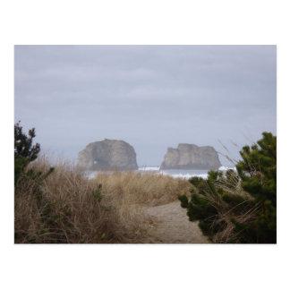 Twin Rocks, Rockaway Beach, OR Postcard