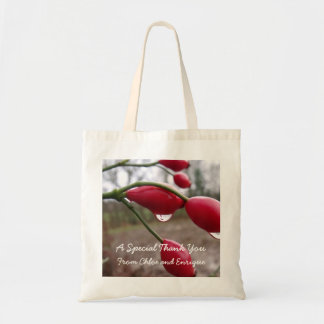 Twin Rose Hips And Rain Personalized Wedding Budget Tote Bag