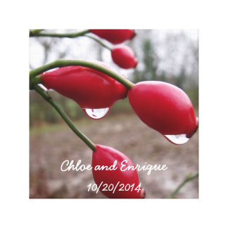Twin Rose Hips And Rain Personalized Wedding Canvas Print