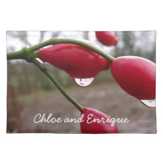 Twin Rose Hips And Rain Personalized Wedding Placemat
